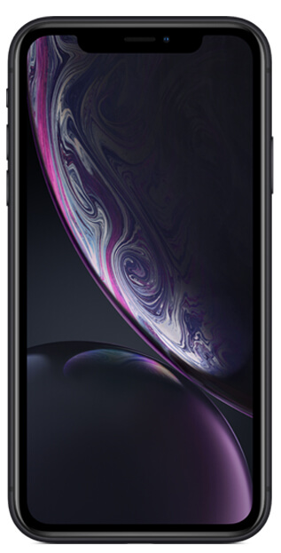 iPhone XR front facing in black
