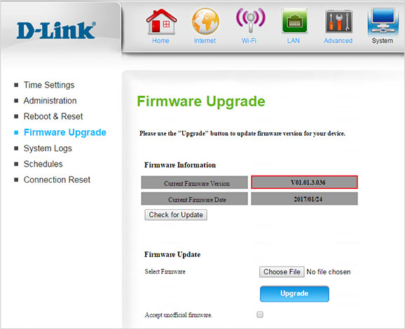 D-Link 4G LTE Router DWR-922 Firmware Confirmation Screen