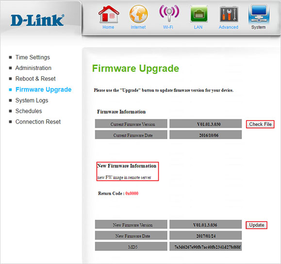 D-Link 4G LTE Router DWR-922 Firmware Upgrade Screen